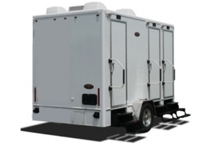 Small Gold Restroom Trailer Exterior
