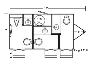 Small Gold Restroom Trailer Floorplan B And B Tent